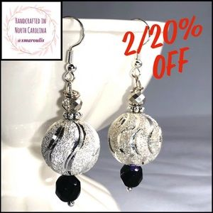 Sterling Silver Earrings w  Silvered Ball Superb
